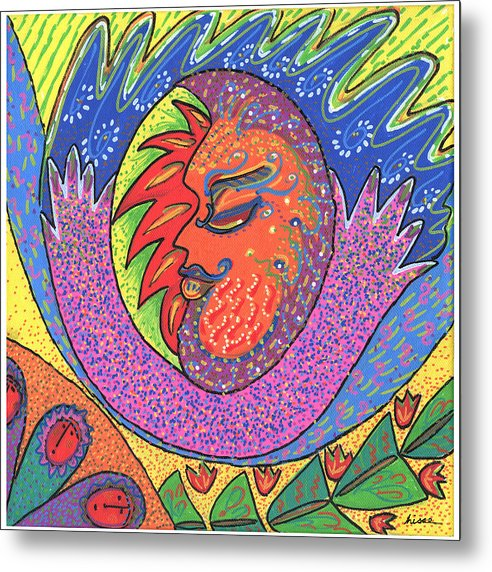 Whimsical Metal Print featuring the painting Sun Man by Sharon Nishihara