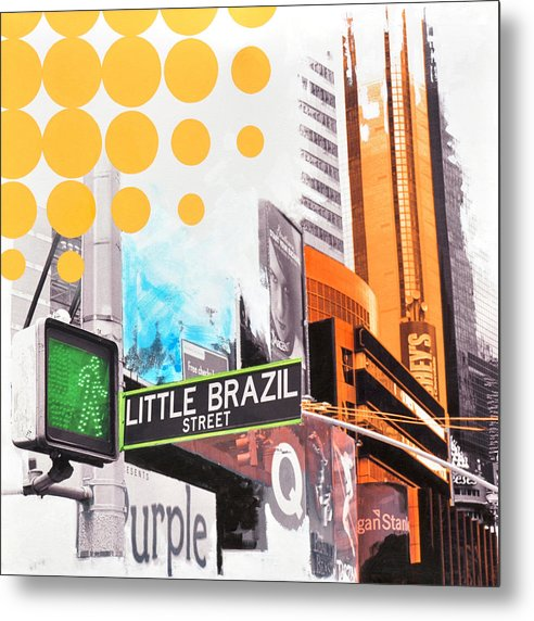 Ny Metal Print featuring the painting Times Square Little Brazil by Jean Pierre Rousselet