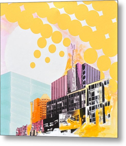 Ny Metal Print featuring the painting Times Square Milenium Hotel by Jean Pierre Rousselet