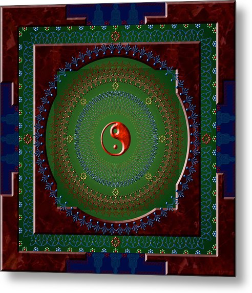 Mandala Metal Print featuring the digital art Yin Yang by Stephen Lucas