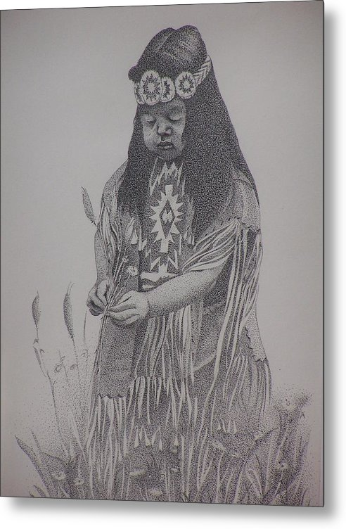 Apache Girl Metal Print featuring the drawing Brandy by Gretchen Price