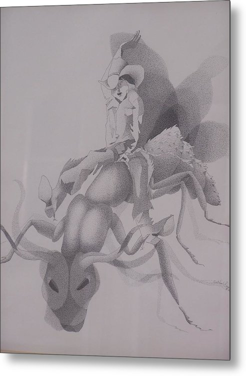Apache Children Metal Print featuring the drawing The Ant Buster by Gretchen Price