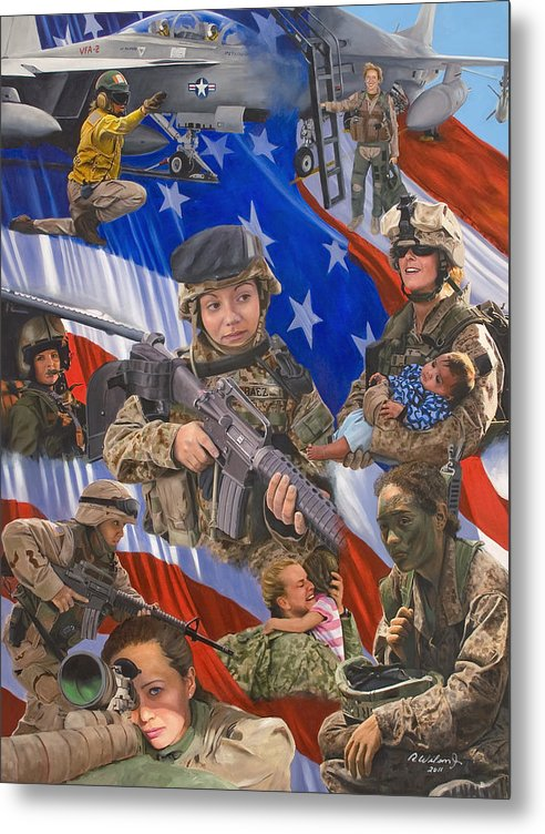 War Metal Print featuring the painting Fair Faces Of Courage by Karen Wilson