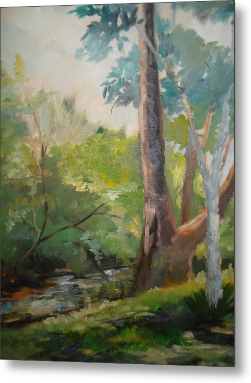 Stream Metal Print featuring the painting Mountain Stream by Marilyn Masters