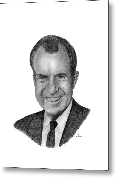 President Metal Print featuring the drawing President Richard Nixon by Charles Vogan