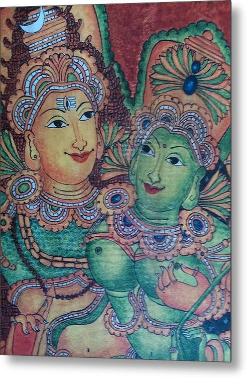 Indian Mural Painting Metal Print featuring the painting Giga20 by Giga Creations