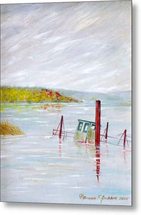 Water Metal Print featuring the painting Sunken by Norman F Jackson