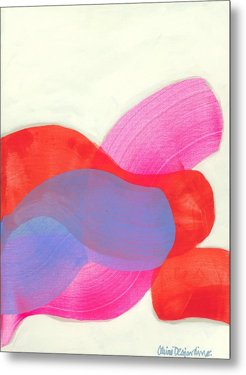 Abstract Metal Print featuring the painting What To Say? by Claire Desjardins