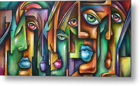 Expressionist Metal Print featuring the painting ' Believers ' by Michael Lang
