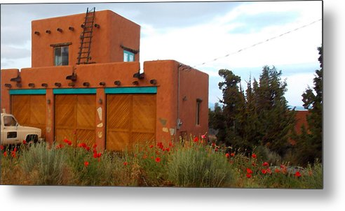 Adobe Metal Print featuring the photograph Adobe House And Poppies by Wendy Raatz Photography