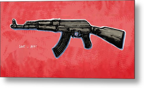 Ak - 47 Gun Drawin Art Poster Metal Print featuring the drawing Ak - 47 Gun Pop Art Drawin Poster by Kim Wang