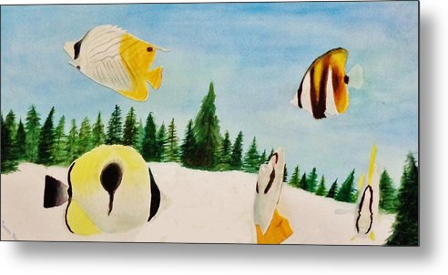 Butterfly Metal Print featuring the painting Butterfly Fish by Savanna Paine
