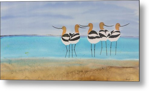 Avocets Metal Print featuring the tapestry - textile Chance Encounter At The Beach by Carolyn Doe