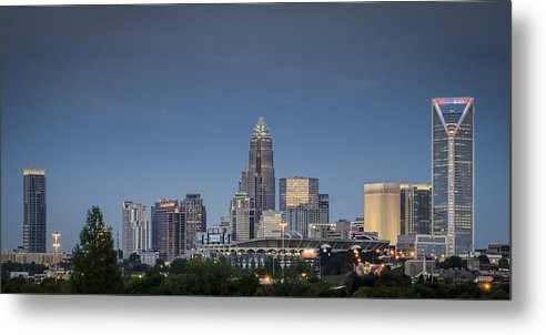 Charlotte Metal Print featuring the photograph Charlotte Skyline - Clear Evening by Brian Young