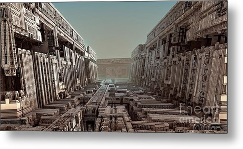 Fractal Art Metal Print featuring the digital art Dream Of A City 2 by Bernard MICHEL
