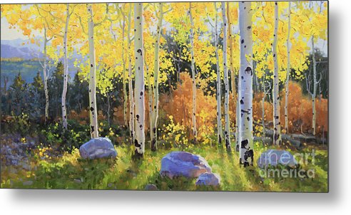 Oil Canvas Prints Contemporary Original Metal Print featuring the painting Glowing Aspen by Gary Kim