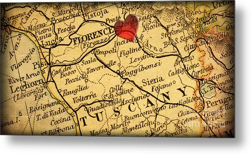 Map of florence tuscany italy europe in a antique distressed vin map metal print featuring the photograph map of florence tuscany italy europe in a antique distressed gumiabroncs Images
