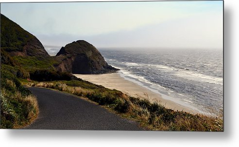 Shore Metal Print featuring the photograph Oregon Coast And Fog by Michelle Calkins