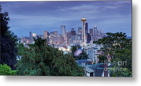 Downtown Seattle Metal Print featuring the photograph Panorama Of Downtown Seattle And Space Needle From Kerry Park At Dusk - Seattle Washington State by Silvio Ligutti
