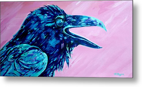 Raven Metal Print featuring the painting Raven Song by Derrick Higgins