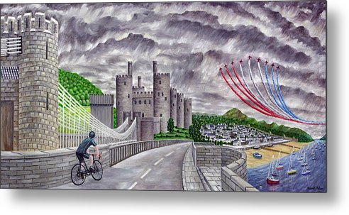 Red Arrows Metal Print featuring the painting Red Arrows At 1000 Feet Over Conway Castle by Ronald Haber