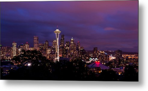 Seattle Metal Print featuring the photograph Seattle Night by Chad Dutson