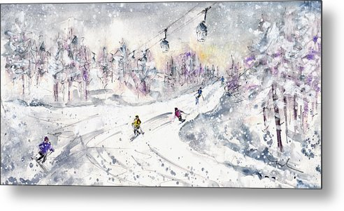 Travel Metal Print featuring the painting Skiing In The Dolomites In Italy 01 by Miki De Goodaboom