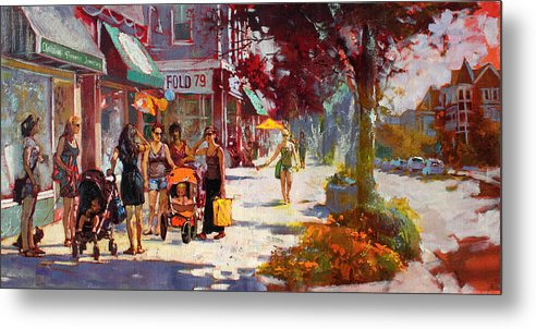 Landscape Metal Print featuring the painting Small Talk In Elmwood Ave by Ylli Haruni