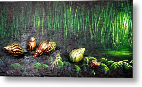 Snails Metal Print featuring the painting Snails In The Forest by Odei Nyamekye