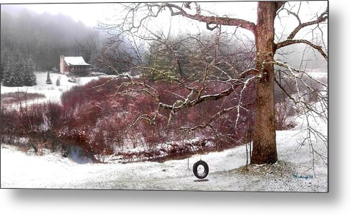 Landscapes Metal Print featuring the photograph Snow Cabin And Tire Swing by Duane McCullough