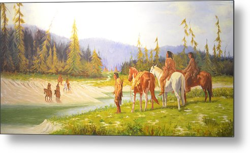 The Crossing Is A Story About The Hunt And The Trail Home Just As The Sun Is Getting Ready To Go Behind The Hill And Weary From The Trail The Young Bucks Can See In The Distance The Camp And The Smoke Rising Up From The Tepee In The Distance And They Know All They Have To Do Is Cross The River And Come Home To The Evening Meal. Metal Print featuring the painting The Crossing by Paul Pritchett