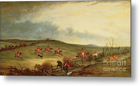 Fox Hunting Metal Print featuring the painting The Quorn In Full Cry Near Tiptoe Hill by John E Ferneley