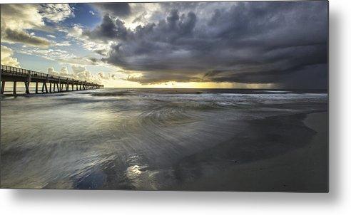 Jacksonville Beach Pier Metal Print featuring the photograph The Sun Is The Winner by Razvan Balotescu