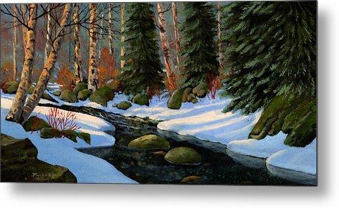 Landscape Metal Print featuring the painting Winter Brook by Frank Wilson