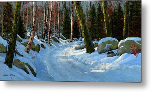 Landscape Metal Print featuring the painting Winter Road by Frank Wilson