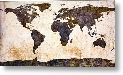 Earth Metal Print featuring the painting World Map Abstract by Bob Orsillo