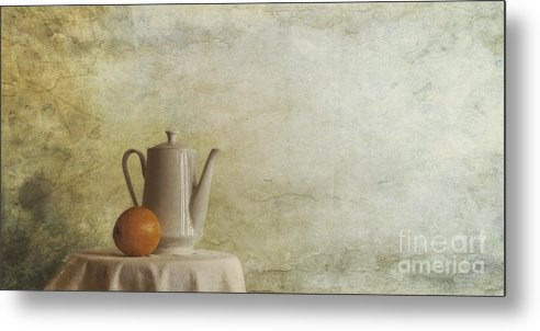 Table Metal Print featuring the photograph A Jugful Tea And A Orange by Priska Wettstein