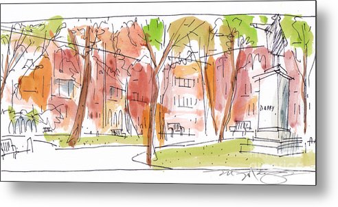 Landscape Metal Print featuring the painting Independence Park Philadelphia by Marilyn MacGregor