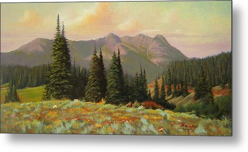 Landscape Metal Print featuring the painting 060815-1224 Late Summer Flowers by Kenneth Shanika