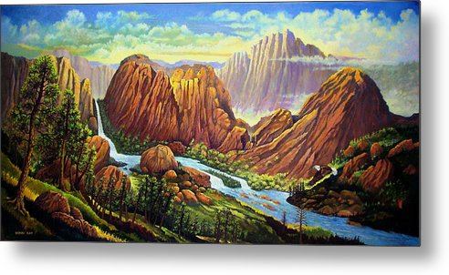 Mountains Waterfalls Rocks Southwest Landscapes Eagles Metal Print featuring the painting Castle Rock Valley by Donn Kay