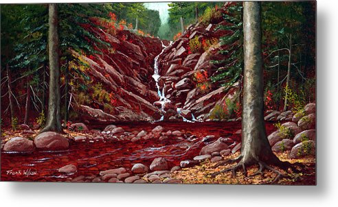 Frank Wilson Metal Print featuring the painting Deepwoods Cascade by Frank Wilson