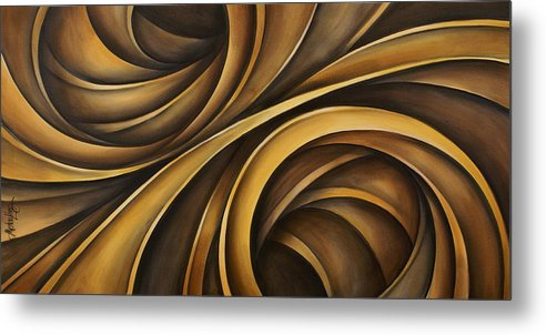 Earth Tones Brown Ribbon Abstract Flowing Motion Metal Print featuring the painting Abstract Design 34 by Michael Lang