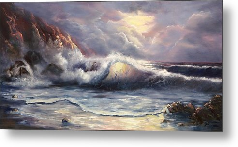Ocean Metal Print featuring the painting After The Storm by Joni McPherson