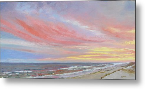 Seascape Metal Print featuring the painting Alberta's Sunset by Lea Novak