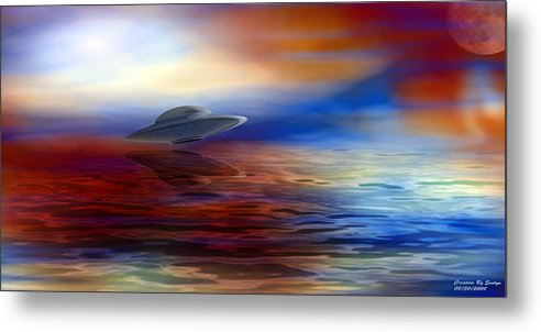 Sunset Metal Print featuring the digital art Are We Alone by Evelyn Patrick
