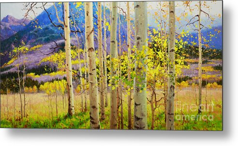Aspen Forest Tree Metal Print featuring the painting Beauty Of Aspen Colorado by Gary Kim