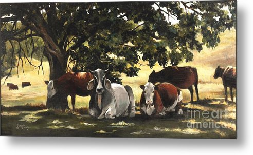 Cows In Pasture Metal Print featuring the painting Brahma's Mamas by Suzanne Schaefer