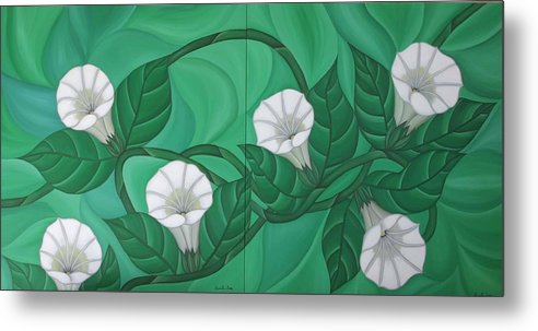 Marinella Owens Metal Print featuring the painting Calystgia Sepium by Marinella Owens
