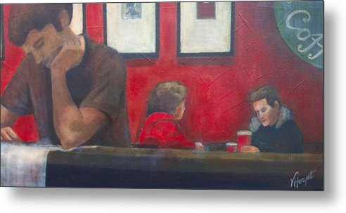 Coffe Shop Metal Print featuring the painting Catching Up by Victoria Heryet