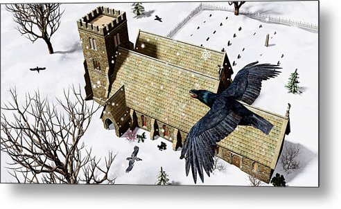 Ravens Metal Print featuring the digital art Church Ravens by Peter J Sucy